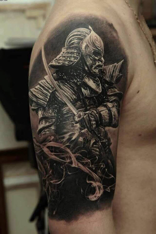 Тату самурай на плече фото - 9