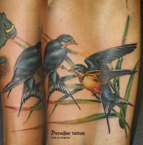 Тату синяя птица фото - 4