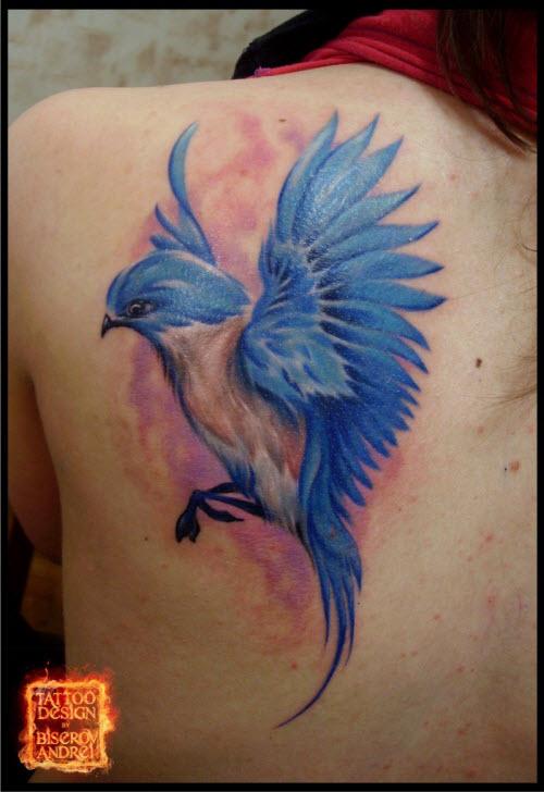 Тату синяя птица фото - 9