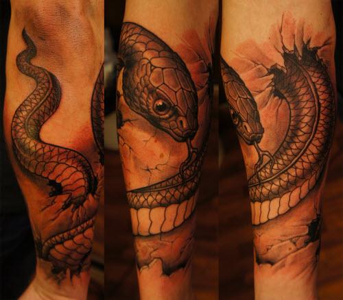 Тату со змеей фото на руке - 3
