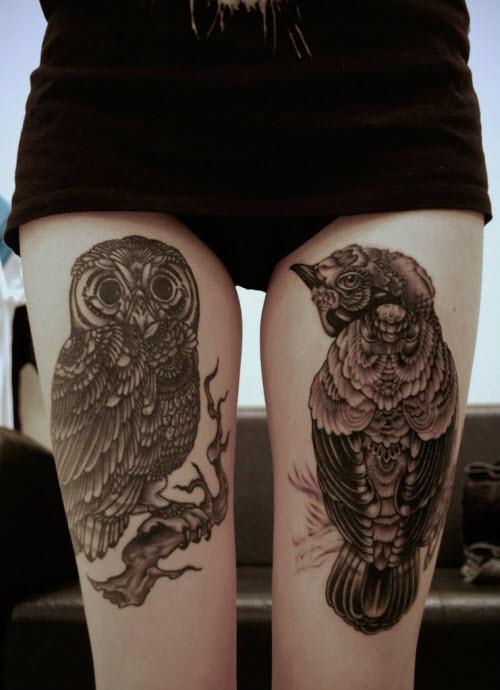 Тату сова на ноге девушке фото - 4