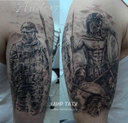 Тату спартанца на плече фото - 0
