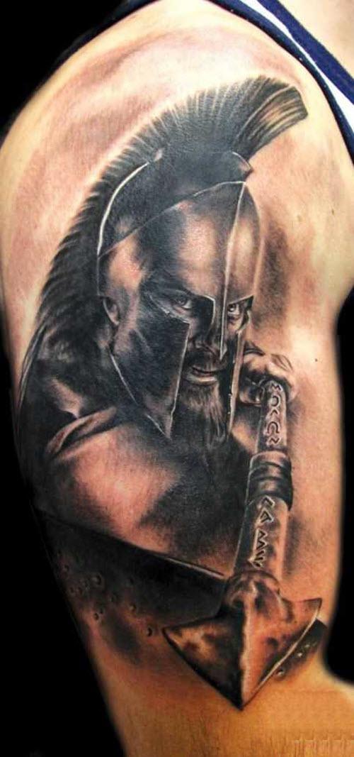 Тату спартанца на плече фото - 9