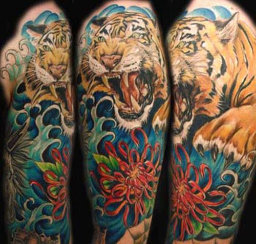 Тату тигра в японском стиле фото - 2