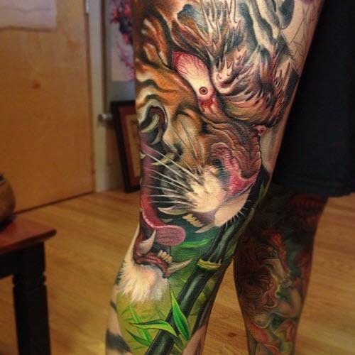Тату тигра в японском стиле фото - 3