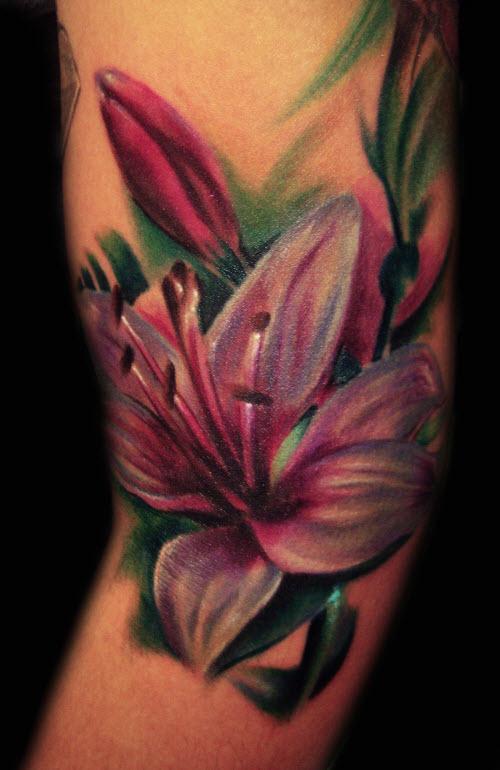 Тату цветной цветок фото - 7