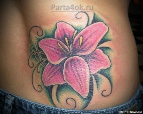 Тату цветок лилия фото - 4