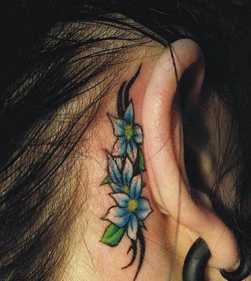 Тату цветы за ухом фото - 4