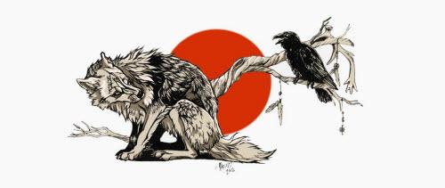 Тату волк с вороном фото - 2