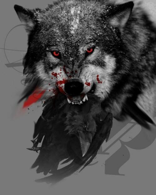 Тату волк с вороном фото - 4