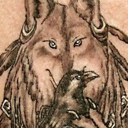 Тату волк с вороном фото - 5