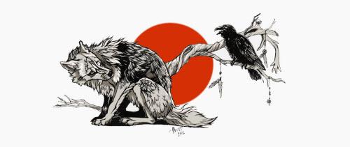 Тату волк с вороном фото - 6