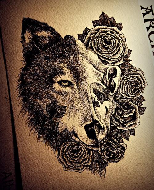 Тату волка на голове фото - 8