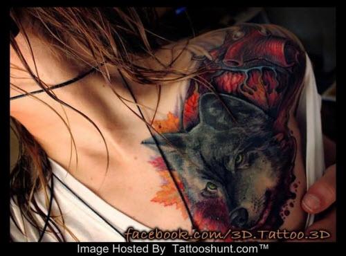 Тату волка на плече у девушек фото - 4