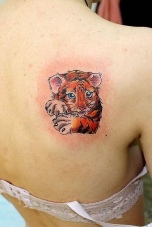 Тигр на ключице тату фото - 6