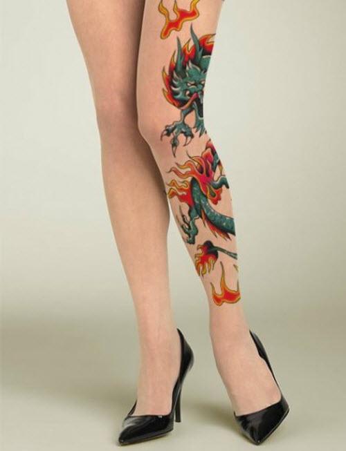 Цветное тату на стопе фото - 4