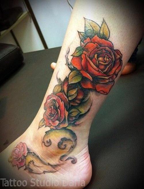 Цветное тату на стопе фото - 5