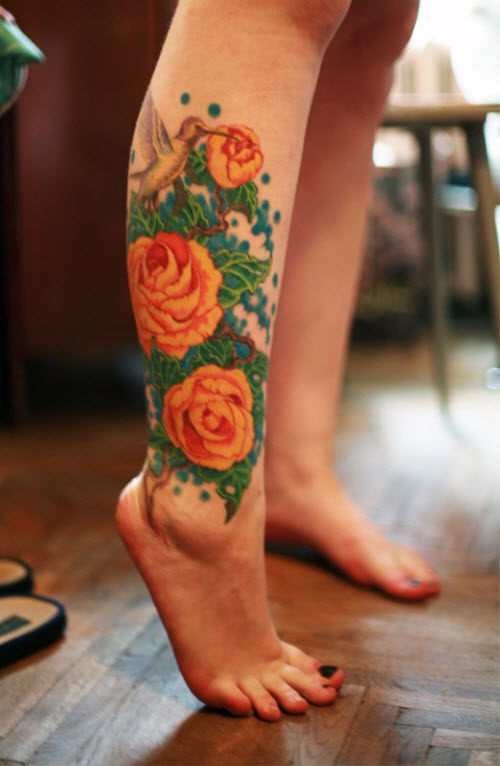 Цветное тату на стопе фото - 9