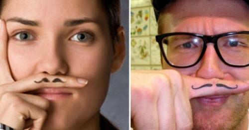 Усы на пальце тату фото