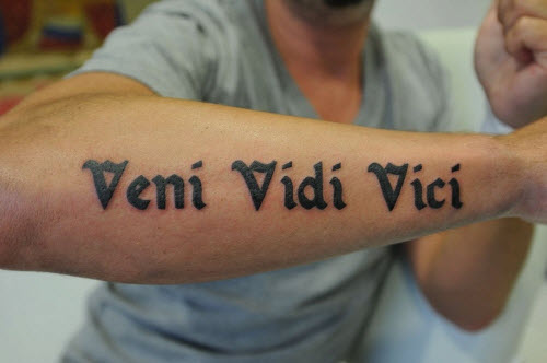 Vici vidi vici на латыни тату фото